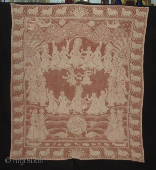 Pichwai of Cotton Lace net,of Maha Raas From Germany,Made for Indian Market C.1900.Its size is 138cmX160cm(DSC01913 New).