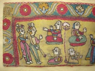 Sutra Book Cover An Mochi Bharat Embroidery From Kutch Gujarat.India.Its an Story Telling Piece.Very Rare and Early Book cover.Its size is 14cm x 25cm(DSC07446 New).
