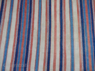 Khadi (Cotton) Striped Jail Dhurries From Kutch Gujarat,India.C.1900.Good Condition.