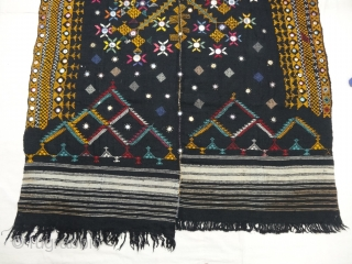 Embroidered woolen wedding shawl (Odhani )from the Thar Desert region of Jaisalmer district of Rajasthan, India.The background cloth is two parts of Black handloomed wool cloth (Probably camel wool) that have been  ...