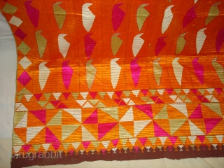 Phulkari From East(India)Punjab.India.One of the Rare Design Indian Phulkari.Known as Tota(Parrot bird)Bagh. Its size is 130cmX220cm (DSC04588 New).
