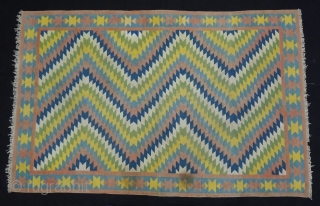 Satrangi-Shatranji (Seven-Colours),Jail Dhurrie(Cotton)Blue And Multi Colour Lahariya Weave Design Dhurrie with Star Design in the Border.From Bikaner, Rajasthan. India.C.1900.Its size is 132X205cm. Condition is very good(DSC05832).