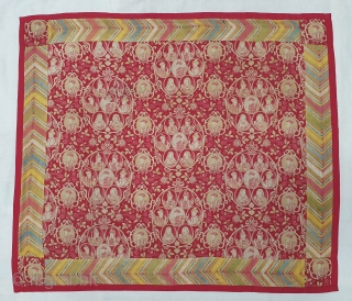 Mughal Empire Manchester Print Chakla (Wall Hanging) From Manchester England made for Indian Market. India. Roller Printed on Cotton.C.1900. Its size is 68cmX81cm (20200426_143229).