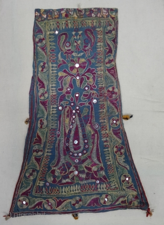 Dowry Bag (cotton) from Saurashtra Region of Gujarat, India. From the Kathi-Darbar Tribe of Gujarat India. Silk Embroidery on the cotton with mirrors and the tassels.C.1900.Its size is 36cmX60cm. Rare Kind of  ...