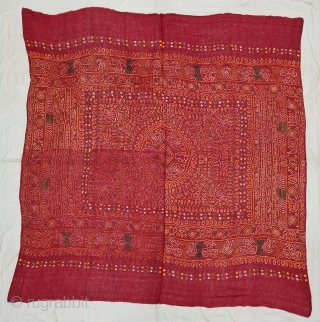 An VeryRare Ceremonial Tie and Dye Odhani (Dupatta). Tie and Dye Work on the Muslin Cotton with natural Dyes. From the Jamnagar Region of Gujarat, India. This name stems from 'Raas', which  ...
