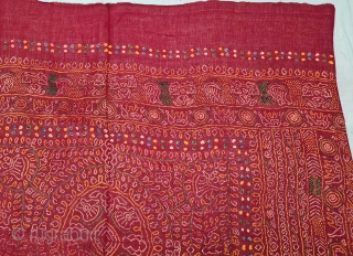 An Very Rare Ceremonial Tie and Dye Odhani (Dupatta). Tie and Dye Work on the Muslin Cotton with natural Dyes. From the Jamnagar  Region of Gujarat, India. This name stems from 'Raas', which  ...