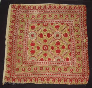 Early Block Print Chakla(Cotton Khadi)From Rajasthan,India.Its size is 92x92cm(DSC09529 New).