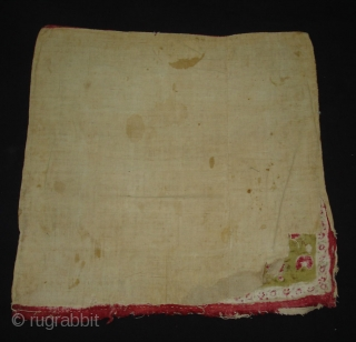 Early Block Print Chakla(Cotton Khadi)From Rajasthan,India.Its size is 72x72cm(DSC09547 New).