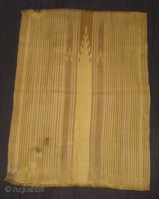 Rafia Ikat Prayer Mat,Of Sakalaya People,West cost of Madagascar,C.1900.Ikat dyed rafia with natural dyes.Its size is 77cmX104cm.Condition,there are fue repairs and some stains(DSC05490 New).