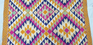Phulkari From West(Pakistan) Punjab.India.Known As Panchrangi Bagh With Rare influence of Shisha Design with beautiful colour combination of Panchrangi Colours,C.1900.Very Rare kind of Phulkari(20190511_154603).