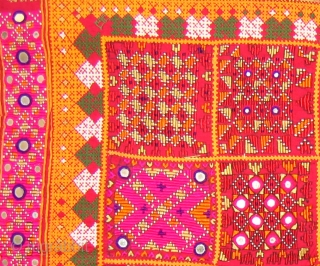 Dowry cloth,Mahar group,From Jaisalmer District of Rajasthan.India.Cotton embroidered with silk and cotton with mirrors.Its size is 75cmX86cm(DSC01450 New).