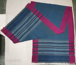 A Very Large Waziri Shawl (Indigo Blue Colour) for Man From Waziristan, Pakistan. India.C.1900.Natural Dye with check design with Hand Woven Cotton and silk ends,with silk end borders.Its size is 150cmX475cm.C.1900.Very nice  ...