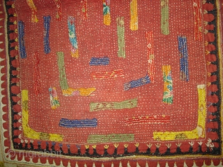 Embroidered and Printed Patch work Quilt From Dwaraka Region of Saurashtra Gujarat. India.very fine quilted and Patch work.Rare kind of Piece.Its size is 67cmX118cm(DSC02309 New).