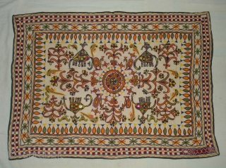 Wall Haning (Small Dharaniya) An Embroidered Cloth used for some special occasions by the Ahir caste of Kutch Gujarat. India. Its size is 70cmX96cm (DSC02505 New).