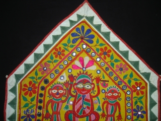 Ganesh Sthapna An Embroidered shrine cloth used on the special occasions by the Kanbi farming caste of Saurashtra,Gujarat. India.Its size is 58cmX70cm (DSC02511 new).