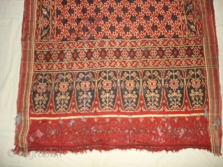 Patola Sari Fragment,Silk Double Ikat,Probably Patan Gujarat. India.This Patola known as Tran-Phul-Bhat (there flowers design) Design.This Patola is one of the most Rare designs,and with indigo blue colours. Which is very rare  ...