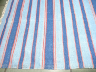 Indigo Blue,Jail Dhurrie(Cotton) Dark Blue-Light Blue Colour with double minaret striped Dhurrie.From Bikaner, Rajasthan. India.C.1900.Its size is 195X330cm (Large Size). Condition is very good(DSC06084).