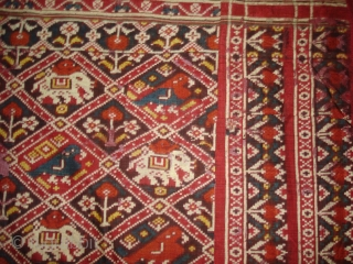 Nari Kunj Patola Dupatta Fragment , Silk Double Ikat,Probably Patan Gujarat. India.This Patola Uses one of the most Rare designs,known as Nari Kunj Patola.Its size is 130cmX222cm(DSC02589 New).