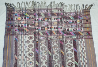 Kira (woman's wrap),Probably woven in Bumthang, Bhutan. It consists of three panels joint to form one single cloth. The delicate weaving n patterning consists of motifs that are popular in other textiles  ...