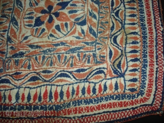 Kantha cotton Plain weave with cotton embroidered Kantha Probably From Faridpur Distric,East Bengal(Bangladesh)region. India.C.1900.Its size is 31cmX31cm(DSC02617 New).