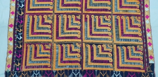 Indigo-Colour Phulkari From East(India)Punjab Region of India. India.Silk on Indigo Dyed Hand Spun Cotton ground.Showing the Rare Influence of showing the Chosar Design in the Border.C.1900.Its size is 130cmX243cm(20181125_112951).