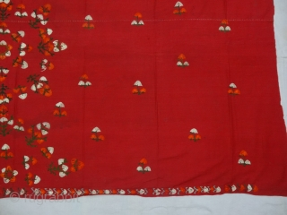 Abochhini Wedding Shawl from Sindh Region of Undivided India. India Silk Embroidery on the Cotton,With Stamp Mark showing the Company name Ellinger Mohatta & Co.Real Turkey Red. c.1900.Its size is 110cmX210cm(DSC05936).