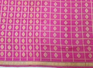Dupatta handwoven fuchsia silk with zari (Real Silver) from Varanasi, Uttar Pradesh , India. c.1900. Good condition. Its size 165cmX253cm(20200611_130901).
