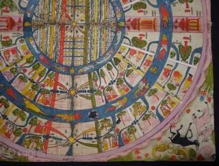 Jain Cosmological Mandala As A Plan of Jambudvipa or Adhidvipa Pata, Gujarat,Western India, On Paper,Mid-19th Century. Its Size is 52cm x 52cm (DSC04603).