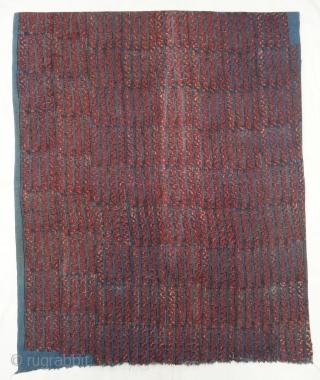 Indigo Blue,Early Daabu Block Print Yardage,(Natural Dyes on Khadi cotton) From Balotra, Rajasthan. India.C.1900. Its size is 82cmX400cm(DSC06401).