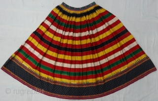 Mashru Ghaghara (Skirt) silk woven in Multi-Color, From Kutch Gujarat, India. Belong to women of Ahir group of Kutch Gujarat. Its Size is L-90cm, Round is 330cm(DSC06430).