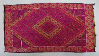 Pillow-Cover,Swat Valley(Pakistan). India.Cotton embroidered with floss silk.with woolen Braiding and Tassels.C.1900.Its size is 43cmx75cm(DSC06451).