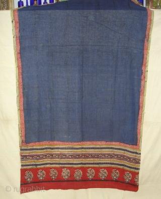 Wedding Saree(Khadi Cotton)From Gujarat India,Circa 1900.block-printed,mordant-dyed,Its size is 110cmx350cm(DSC00148 New).