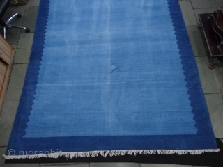 Indigo Blue,Jail Dhurrie(Cotton) Dark Blue-Light Blue Plain Weave Dhurrie. From Bikaner, Rajasthan. India.C.1900.Its size is 237X338cm (Large Size). Condition is very good(DSC06500).