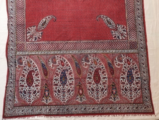 Kalamkari Double Sided (Front and Back same Design),From South India Made for Persian Market,Late 19th Early 20th Century.Hand spurn cotton,Natural Dyes.Its size is 135cmX235cm(20200710_144506).
