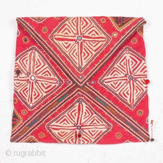Dowry Bag (cotton) from Sindh Region of undivided India. India.Applique cut-outs with mirrors and the tassels.C.1900.Its size is 48cmX75cm. Rare Kind of Bag(IMG-20190316-WA0133).