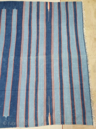Indigo Blue,Jail Dhurrie(Cotton) Dark Blue-Light Blue Colour with double minaret striped Dhurrie.From Bikaner, Rajasthan. India.C.1900.Its size is 157X260cm (Large Size). Condition is very good(20200714_155215).