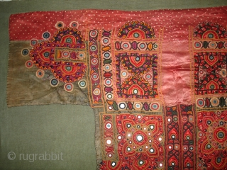 Embroidered Blouse-Front(Gaj)From Nindo Shehr,Sindh Provision of Pakistan. Pakistan.Green silk lined with cotton,silk embroidery with mirrors(DSC04131).