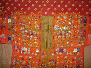 Embroidered Blouse-Front(Gaj)From Nindo Shehr,Sindh Provision of Pakistan, Pakistan.Red silk lined with cotton,silk embroidery with mirrors(DSC04157).