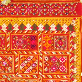 Dowry cloth,Mahar group,From Jaisalmer District of Rajasthan. India.Cotton embroidered with silk and cotton with mirrors.Its size is 95cmX135cm(DSC01450 New).