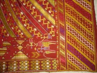 Phulkari From East(Punjab) India.Known Sarpallu Phulkari. Very rare influence of showing Ducks both sides(DSC02714 New).