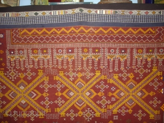 Odhani Bishnoi Shawl From Shekhawati District of Rajasthan, India. Odhani Showing the Chopat design on cotton Khadder (Village Khadi)cloth with natural colours,This were traditionally used mainly by Bishnoi Group of Shekhawati District  ...