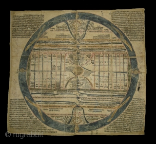 Jain cosmological mandala as a plan of Jambudvipa,Gujarat,Western India,Made on Paper Condition is little week,Mid-18th Century. Its Size is 40cm x 45cm(DSC02114 New).