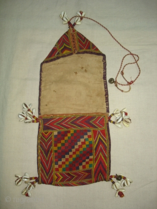 Ceremonial Banjara Chanchi Tobacco Bag From Karnataka,South India.Embroidered on cotton.Its size is 15cmX36cm(DSC03257 New).