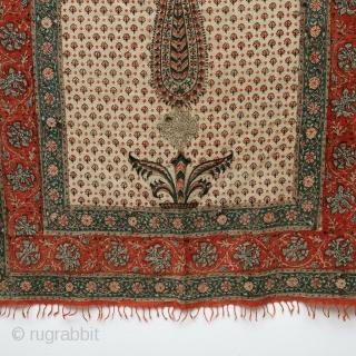 Floral Chintz Kalamkari of Jainamaz style, Hand-Drawn Mordant-And Resist-Dyed Cotton,From Coromandel Coast South India. India. Made for the Persian Market.  C.1750-1800.   Its size is 85cmX143cm(IMG-20210907-WA0110)