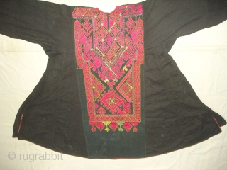 Woman's Embroidered Kurta(Shirt),From Swat Valley of Pakistan.The Black Natural Dye cotton field with Floss-Silk embroidery(DSC03347 New).
