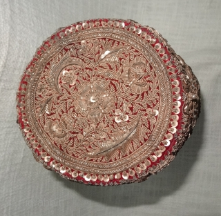 Hat Zardozi Embroidered on cotton velvet, With Real Silver Thread with Gold Polish. From Some Royal State of Northern India.India(DSC07118).