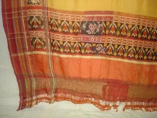 Patola Sari,Silk Double Ikat.Probably Patan Gujarat. India.Early 18th Century.This Patola Uses one of the most Rare designs known as Paneter Yellow Patola, Its Belongs to Nagar Bhrahaman Group of Gujarat India.Its size  ...