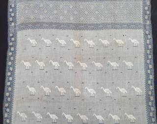 Figurative Rare Jamdani Finest Muslin Cotton Saree, In Figurative Style, From Dhaka District of Bangladesh. North-East India. India. Jamdani was originally known as Dhakai named after the city of Dhaka, Jamdani is  ...