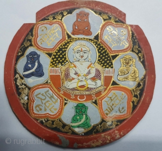 Jain Sidh Chakra,for Jain worshiper,Painted on Paper,From Patan Gujarat. India. Early 18th Century.Its size is 9cmX9cm(DSC53605 New).
