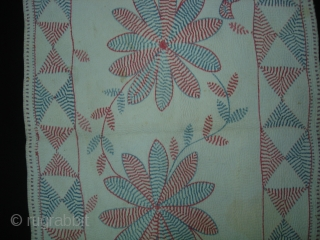 Kantha Quilted and embroidered cotton Kantha Probably From East Bengal(Bangladesh)region.India.Its size is 38cmX90cm(DSC06421 New).